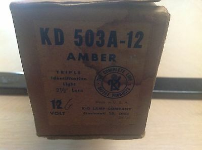 NOS NIB KD 503 Amber glass TRIPLE light bar Bus VAN Semi TRAVEL TRAILER vintage