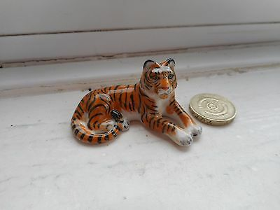 Tiger - Beautiful - Detailed  Miniature Ceramic/pottery Tiger - Lying Down