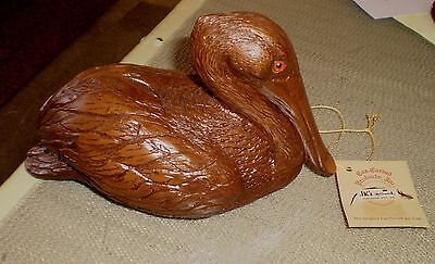 Vintage Authentic CAS Carved Wood Art Products PELICAN