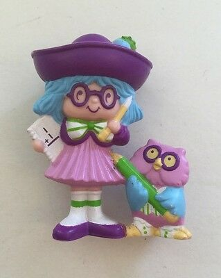Vintage 1984 Plum Pudding Elderberry Owl Rare Mini Figure Strawberry Shortcake