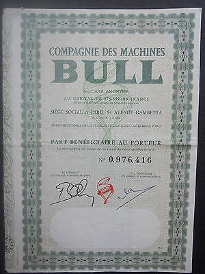 Lot 2 Compagnie Machine BULL Part Beneficiaire + coupons