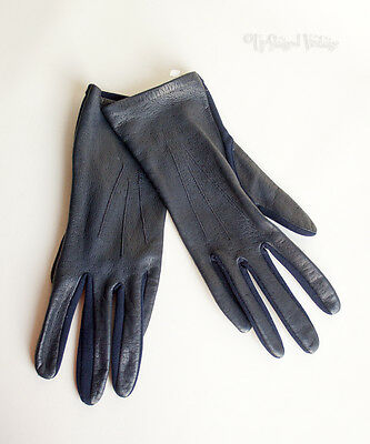 Vintage 60s/70s BHS Navy Leather Back Nylon Palm Gloves Size 7½ FAST FREE UK P&P