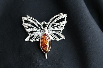 Beautiful Silver and Amber Butterfly Brooch