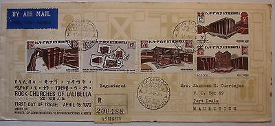 Ethiopia: 1970 Registered First Day Cover - Asmara to Port Louis, Mauritius.