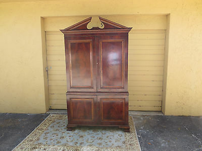 Antique  mahogany linen press armoire with interior slides drawers & burl inlay