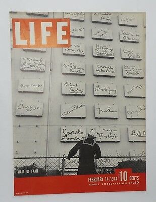 Original Life Magazine COVER ONLY February 14 1944 Wall of Fame