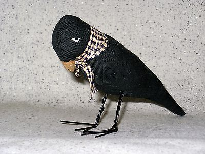 NEW~Sulking Black Crow Raven Fabric Figurine Wire Feet Halloween Gothic