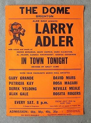 """Original 1970s LARRY ADLER show poster THE DOME BRIGHTON in """"IN TOWN TONIGHT"""""""