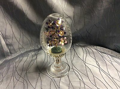 FRANKLIN MINT Limited Faberge Crystal Glass Egg The Violet Bouquet Flowers