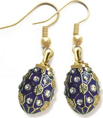 Faberge Egg Earrings with crystals 1.6 cm blue #0847
