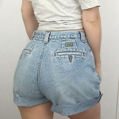 "Women's VINTAGE 90s LEE Light Blue GRUNGE Denim Cut Offs Jean Shorts | Size 28""W"