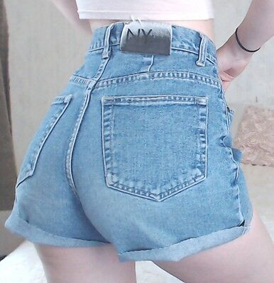 Women's NEW YORK JEANS Vintage 90s RETRO Medium Blue Denim Cut Offs Shorts Sz 6