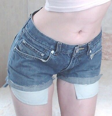 "Women's Vintage 90s LEVI Medium Blue Denim RETRO Cut Offs Jean Shorts | Sz 28""W"