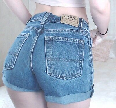 "Women's True Vintage LEVI'S Medium Blue Wash Denim Cut Offs Jean Shorts Sz 24""W"