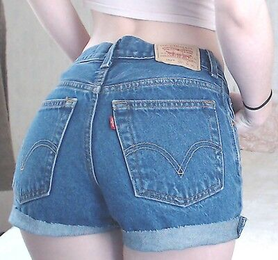"Women's VINTAGE 90s Grunge LEVIS 550 Medium Blue Denim Cut Offs Jean Shorts 26""W"