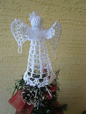Vintage Crochet Angel Christmas Tree Toppertable Decoration 6 Tall