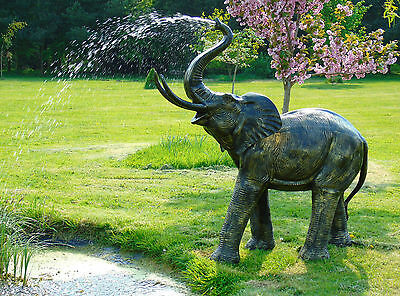 "cast aluminium elephant fountain .... 65"" high pond water feature"