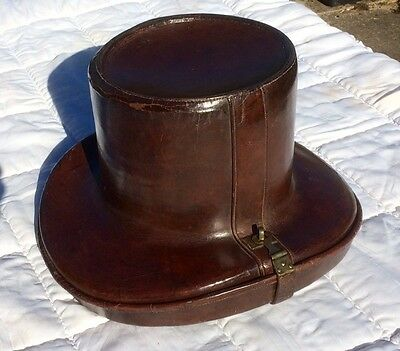 Antique leather top hat box