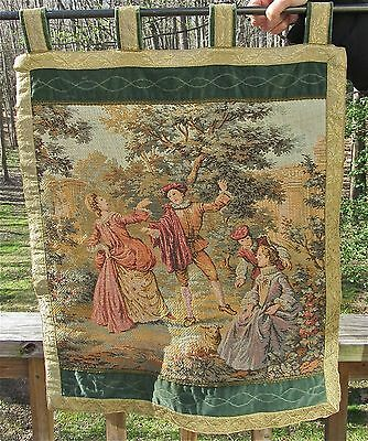 Antique Vintage Embroidered Tapestry Wall Hanging Picture Embroidery Art w Rod