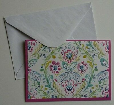 Set of 8 Blank Notecards & Envelopes ~ Watercolor Floral Pink