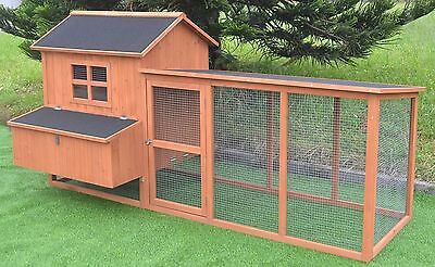 """Large 87"""" Deluxe Solid wood Hen Chicken Cage House Coop Huge w/ Run nesting box"""