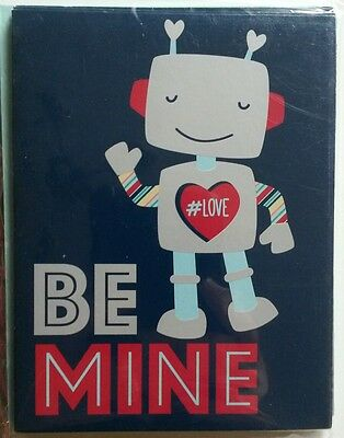 Set of 8 Blank Notecards & Envelopes ~ Valentine's Day Be Mine Robot