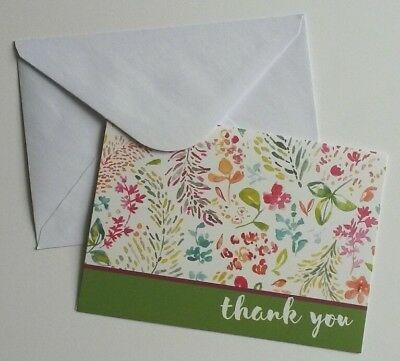 Set of 8 Blank Notecards & Envelopes ~ Thank You Watercolor Floral Green