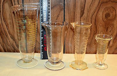 4 Graduated Beakers 2 Glass Marisco, 1 Plastic Nalgene & Unmarked Glass W/etched