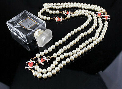 Xmas gold lucky X long pearl necklace Wedding Party love gifts UK women Vintage