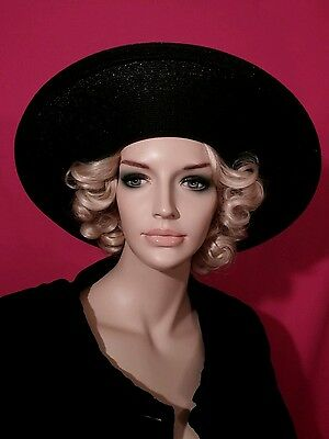 Vintage black wide brim hat Adele Clare union made 1950 picture hat