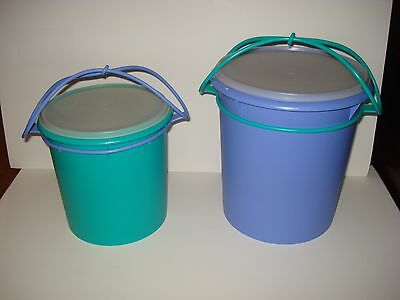 TUPPERWARE JUMBO & GIANT CANISTERS with CARIOLIER HANDLE #254 255 (20 & 36 CUPS)