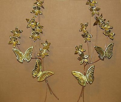 2 Vintage Home Interiors Gold Brass Metal Butterfly & Flower Swag Wall Hanging