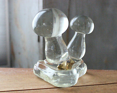 Vintage Glass Mushroom Frog Figure Decoration Paperweight Fairy Garden Home