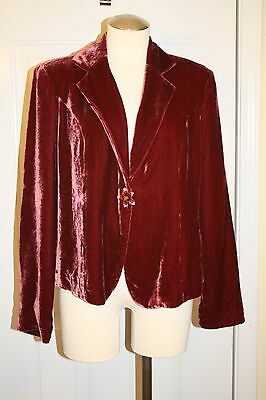 Mimi Maternity Red Velour One-Jeweled Button Jacket Size M