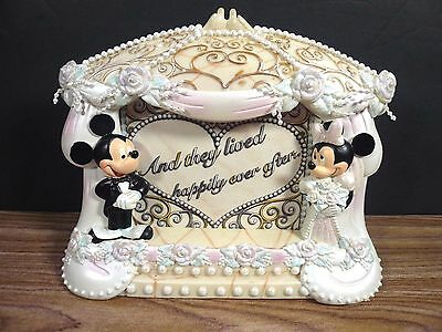 New Disney Bride & Groom Mickey Mouse Minnie Mouse Wedding Retired Photo Frame