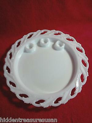 Imperial Glass Milk Glass Round Centerpiece Platter Candle Holder 11 inches