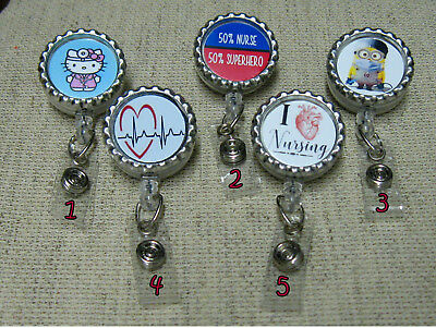 LOVE Heart RN Nurse ~ ID Badge Holder Retractable Reel