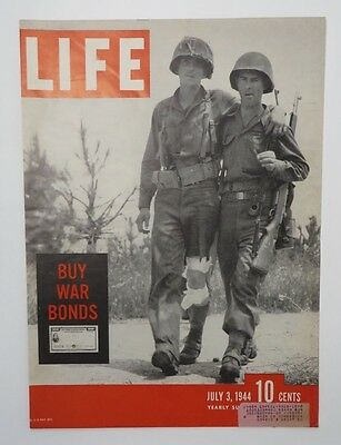Original Life Magazine COVER ONLY July 3 1944 Buy War Bonds Soldiers