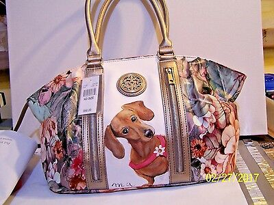 hand painted Dachshund Chateau floral spring handbag Dog purse art best