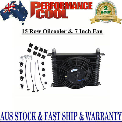"""15 ROW 10AN Engine Racing Transmission Oil Cooler + 7"""" Electric Fan Kit NEW"""