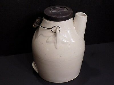 Antique Stoneware Pottery Batter Jug with Lid and Wire / Wood Handle