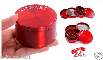 4 Piece 3 Inch Red Tobacco Herb Grinder Spice Herbal Zinc Alloy Smoke New