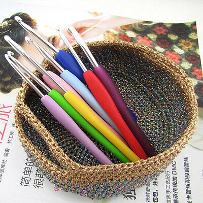 9pcs Multicolor Soft Plastic Handle Aluminum Crochet Hooks Knitting Needles Kit