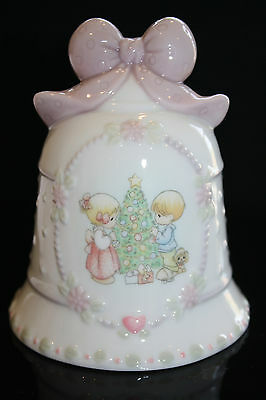 Vintage1997 PRECIOUS MOMENTS Christmas Bell Adorable w Pink Bow
