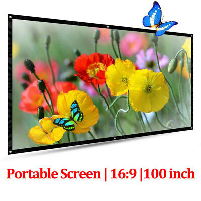 UK Portable 100'' Projector Screen 16:9 Outdoor HD Wide Projection Home Cinema