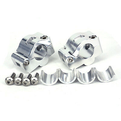 CNC 22mm Handlebar Fat Bar Upper Mounts Clamps Adapter Silver Dirt Bike Off Road