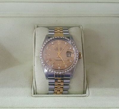Rolex Datejust 18ct Gold Stainless Diamonds Men authentic Free shipping
