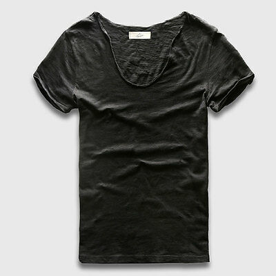 Deep V Neck T-Shirts Men Casual Slim Fit Tshirts Various Colors Beachwear Tees