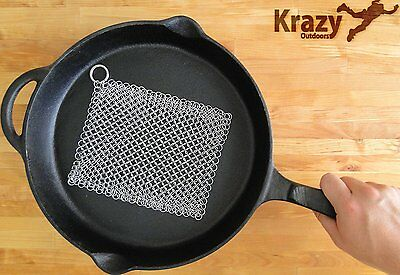 NEW Stainless Steel Chainmail Cast Iron Cleaner XL 8x6-Inch Skillet Pot Scrubber