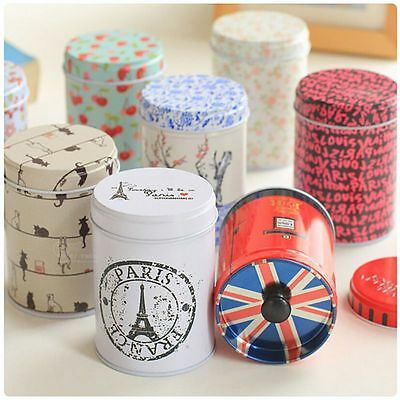Flower Metal Tea Coffee Sugar Tin Jar Container Sealed Cans Candy Storage Box